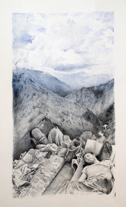 Autostop 1: Ica – Bolígrafo sobre papel – 50 x 32 cm. – 2012