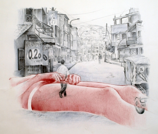 Autostop 2: Lima – Bolígrafo sobre papel – 65 x 50 cm. – 2012