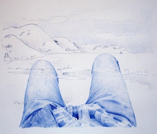 Autostop 5: Meditación – Bolígraf sobre paper – 65 x 50 cm. – 2012 Bolígraf sobre papel - 100 x 70 cm. - 2012