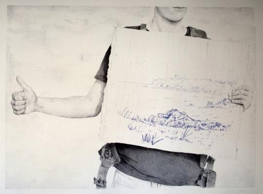 Autostop 7: Ayuda – Bolígrafo sobre papel – 100 x 70 cm. – 2012