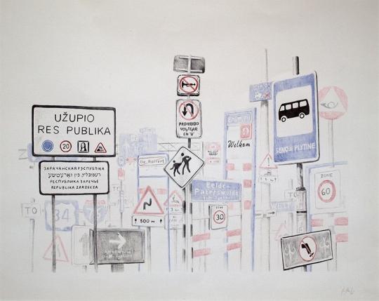 Autostop 4: Perdido – Bolígrafo sobre papelr – 65 x 50 cm.
