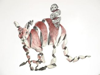 Canguro y lechuza: 50x65 cm. – Ballpoint pen on paper, 2013 - AVAILABLE