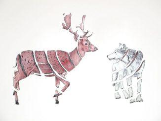 Ciervo y lobo: 50x65 cm. – Ballpoint pen on paper, 2013 - AVAILABLE