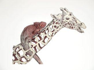 Jirafa con camaleón: 50x65 cm. – Ballpoint pen on paper, 2013 - AVAILABLE